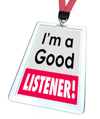 Good Listener Employee Badge Name Tag Customer Service