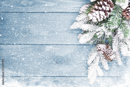 Old wood texture with snow and firtree poster