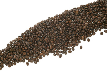 Caffe edition, coffee beans on white background