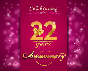 22 year anniversary celebration sparkling card, 22nd anniversary