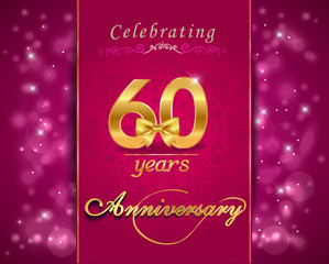 60 year anniversary celebration sparkling card, 60th anniversary