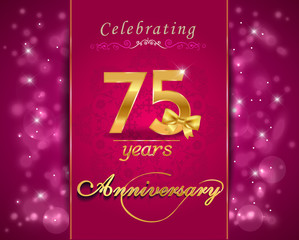 75 year anniversary celebration sparkling card