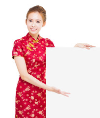 beautiful young Asian woman with empty billboard