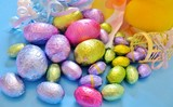 A variety of brightly colored Easter candy
