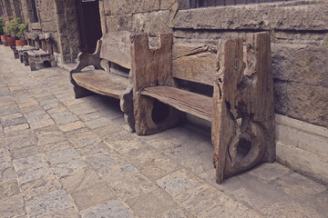 vintage bench side view