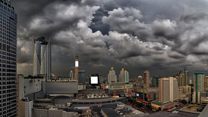 Dark Storm clouds loom over the city of Bangkok