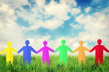 Concept of unity and friendship. Many multicolored paper people
