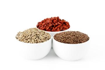 Flaxseeds, sunflower seeds and goji berries