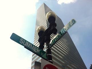 Street sign, summer
