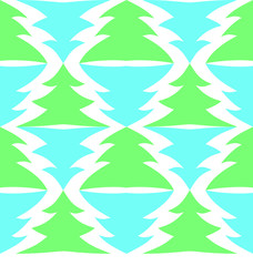 Seamless multicolored spruces isolated on white background