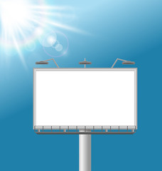 Blank billboard on sky background with glares of the sun