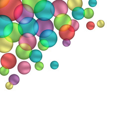 Multicolored bubbles isolated on white background