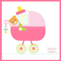 Baby girl stroller with bottle, soother, socks vector