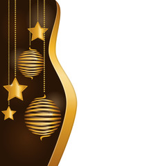 Christmas background with golden spiral balls and stars hanging