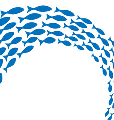 Shoal of blue fishes on white background