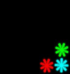 Self-illuminated multicolored flowers isolated on black
