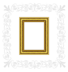 Golden frame with gray ornament isolated on white