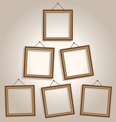 Six wooden frames hang on wall on brown background