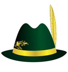 Green hat with golden feather, ribbon and ornament isolated