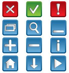 Nine multicolored web icons isolated on white background