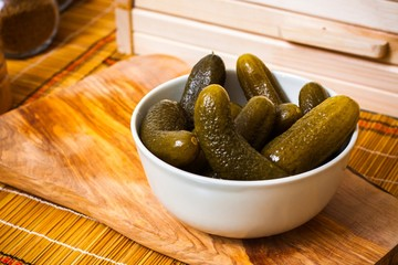 Pickled cucumbers in bowl