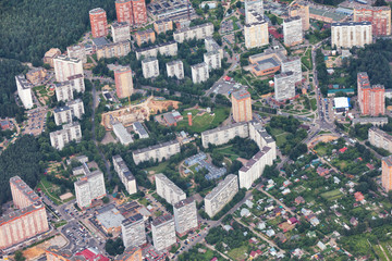 View from plane on residential quarter of New Moscow