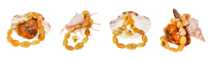banners with amber bead in a nacre seashell for design