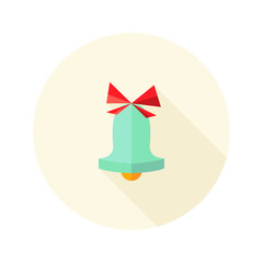 Christmas Bell with Bow Flat Icon