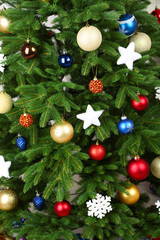 Decorated Christmas tree close-up