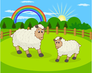 Cartoon sheep and rural meadow with green grass on the mountain
