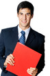 Smiling businessman with red folder, isolated on white