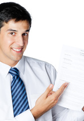 Businessman showing document or contract, over white
