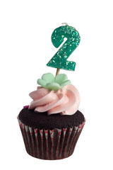 Mini cupcake with birthday candle for two year old