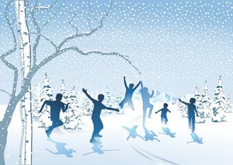 Kinder toben im Schnee