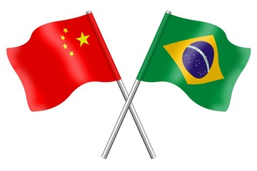 Flags: China and Brazil