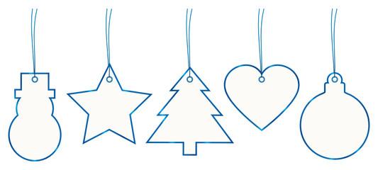 Set 5 Christmas Hangtags Paper Blue