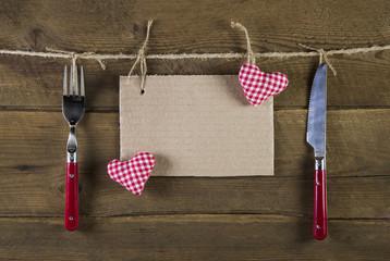 Speisekarte oder Menükarte zum Valentinstag oder Weihnachten