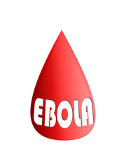 A drop of blood with the words ebola - vector