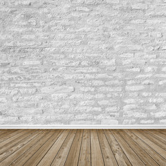Empty Room / Wooden Floor / Bricks Wall
