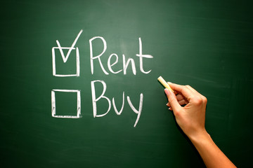 Buy not rent concept on green blackboard
