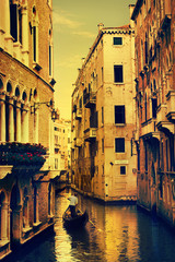 art Gondolas and canals in Venice, Italy