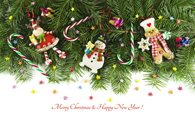 Horizontal card with toys, conifer branches and text