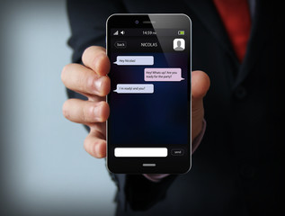 chat businessman smartphone