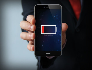 low battery businessman smartphone