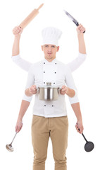 cooking concept - man in chef uniform