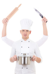 man in chef uniform with four hands