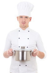 young man in chef uniform with saucepan isolated on white