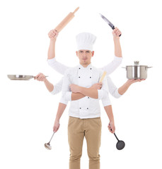man in chef uniform with 8 hands