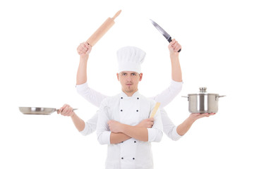 cooking concept -young man chef with 6 hands holding kitchen equ