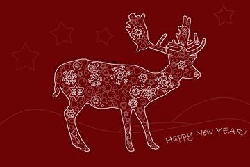 Postkarte Neu Jahr mit Renntier